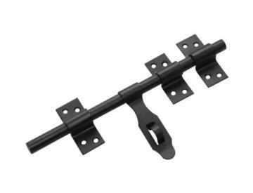 Засов дверной универсальный ЗУ-250 с накладкой  Домарт черный [10]